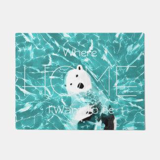 Playful Polar Bear In Turquoise Water Design Doormat