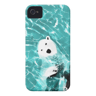 Playful Polar Bear In Turquoise Water Design iPhone 4 Covers