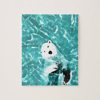 Playful Polar Bear In Turquoise Water Design Jigsaw Puzzle