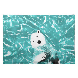 Playful Polar Bear In Turquoise Water Design Placemat