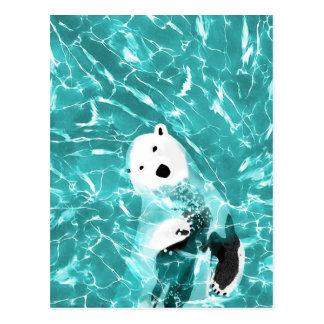 Playful Polar Bear In Turquoise Water Design Postcard