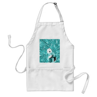Playful Polar Bear In Turquoise Water Design Standard Apron