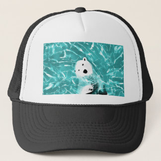 Playful Polar Bear In Turquoise Water Design Trucker Hat