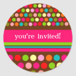 Playful Polka Dots Round Stickers