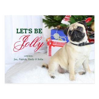 Playful Pug Dog Postcard