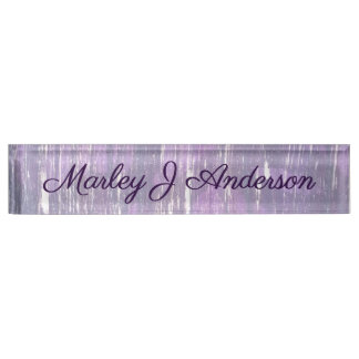 Playful | Purple Silver Splatter Abstract Nameplate