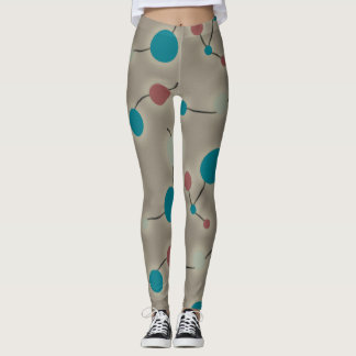 Playful Retro Large Molecules Universe Blue Grey Leggings