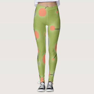 Playful Retro Large Molecules Universe Peach Green Leggings