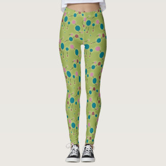 Playful Retro Small Molecules Universe Blue Green Leggings