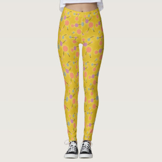 Playful Retro Small Molecules Universe Pink Yellow Leggings
