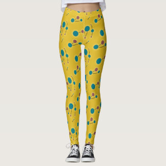 Playful Retro Small Molecules Universe Red Yellow Leggings