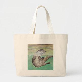 Playful River Otter Large Tote Bag