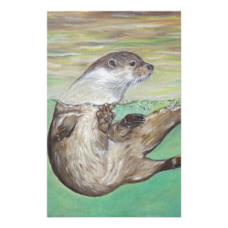 Playful River Otter Personalized Stationery