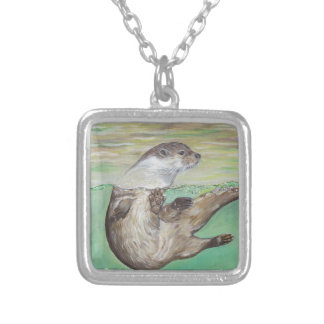 Playful River Otter Silver Plated Necklace