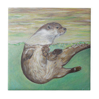 Playful River Otter Small Square Tile