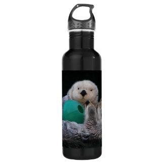 Playful Sea Otters Photo 24oz Water Bottle 710 Ml Water Bottle