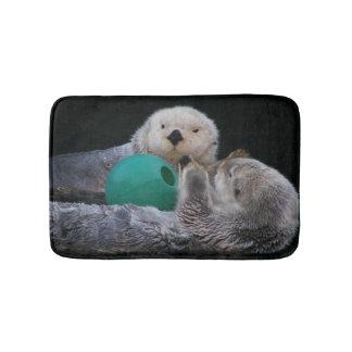 Playful Sea Otters Photo Bath Mat