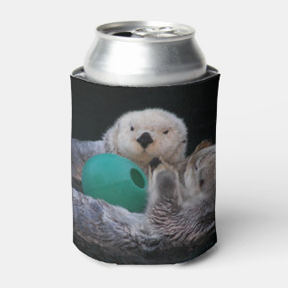 Playful Sea Otters Photo Can Cooler
