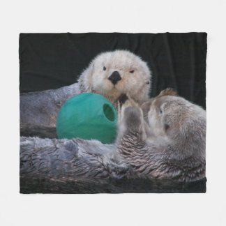 Playful Sea Otters Photo Medium Fleece Blanket