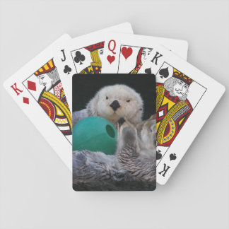 Playful Sea Otters Photo Playing Cards