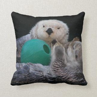 Playful Sea Otters Photo Square Cushion