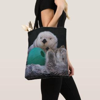 Playful Sea Otters Photo Tote Bag