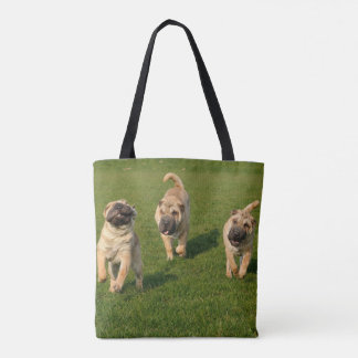 Playful Shar Pei Puppies Tote Bag