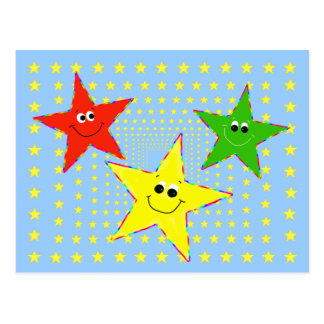 Playful Smiley Stars Postcard