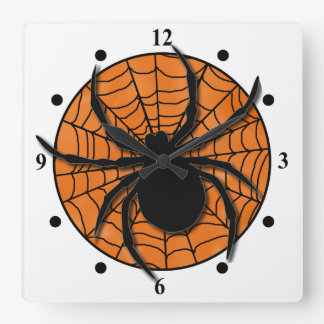 Playful Spider Web Huge Spider Wallclock