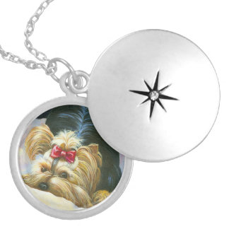 Playful Yorkshire Terrier Silver Plated Necklace