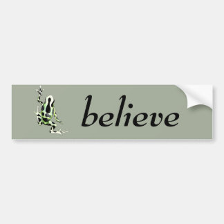 Playfully Adorable Black & Green Watercolor Frog Bumper Sticker