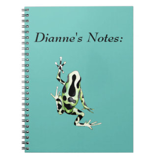 Playfully Adorable Black & Green Watercolor Frog Note Book
