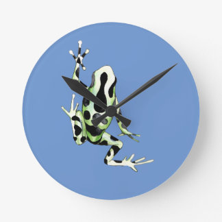 Playfully Adorable Black & Green Watercolor Frog Round Clock