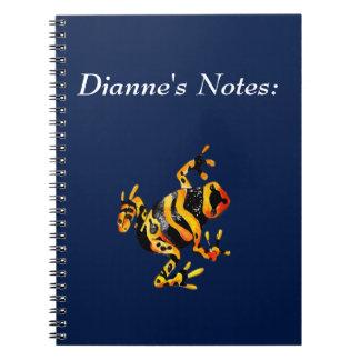 Playfully Adorable Black & Orange Watercolor Frog Spiral Note Book