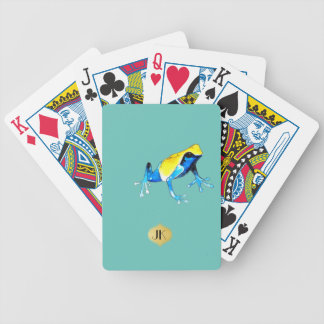 Playfully Adorable Blue & Yellow Watercolor Frog Bicycle Playing Cards