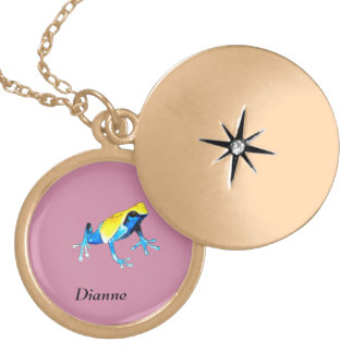 Playfully Adorable Blue & Yellow Watercolor Frog Locket Necklace
