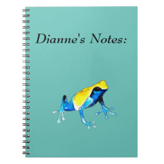 Playfully Adorable Blue & Yellow Watercolor Frog Notebooks
