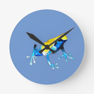Playfully Adorable Blue & Yellow Watercolor Frog Round Clock