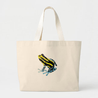 Playfully Adorable Colorful Watercolor Frog Large Tote Bag