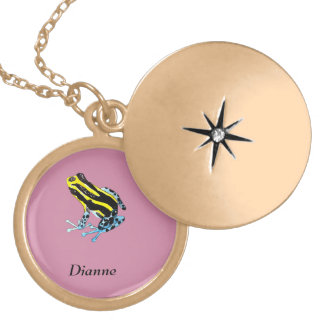 Playfully Adorable Colorful Watercolor Frog Locket Necklace