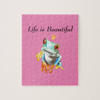 Playfully Adorable Green & Yellow Watercolor Frog Jigsaw Puzzle