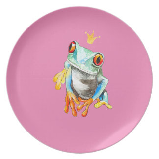 Playfully Adorable Green & Yellow Watercolor Frog Party Plates