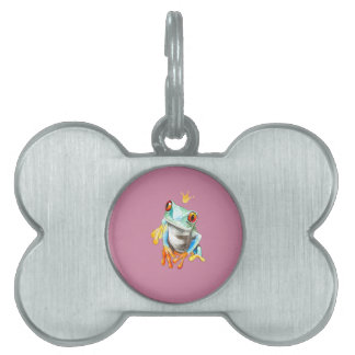 Playfully Adorable Green & Yellow Watercolor Frog Pet ID Tag