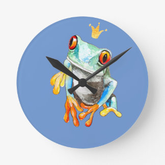 Playfully Adorable Green & Yellow Watercolor Frog Round Clock