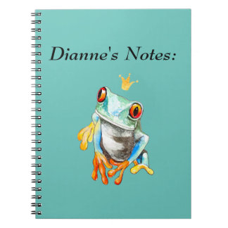 Playfully Adorable Green & Yellow Watercolor Frog Spiral Notebooks