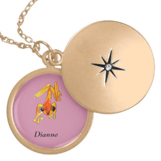 Playfully Adorable Orange & Yellow Watercolor Frog Gold Plated Necklace