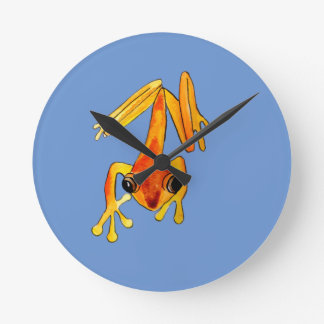 Playfully Adorable Orange & Yellow Watercolor Frog Round Clock
