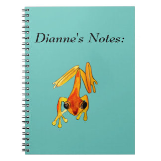 Playfully Adorable Orange & Yellow Watercolor Frog Spiral Notebook