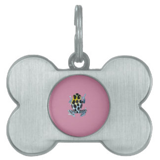 Playfully Adorable Spotty Colorful Watercolor Frog Pet ID Tag