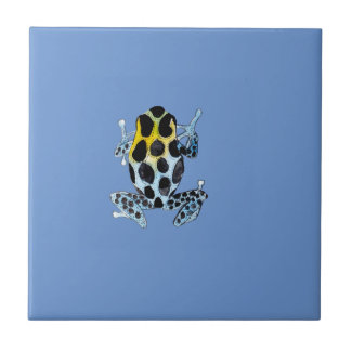 Playfully Adorable Spotty Colorful Watercolor Frog Small Square Tile